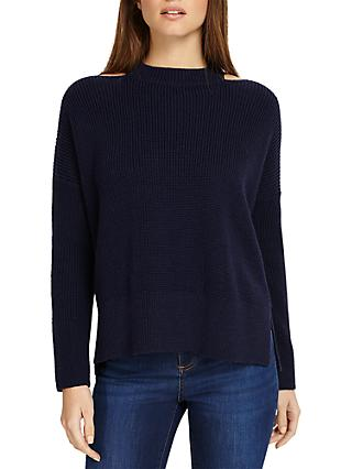 Phase Eight Cammi Cut Neck Chunky Knit Jumper, Navy