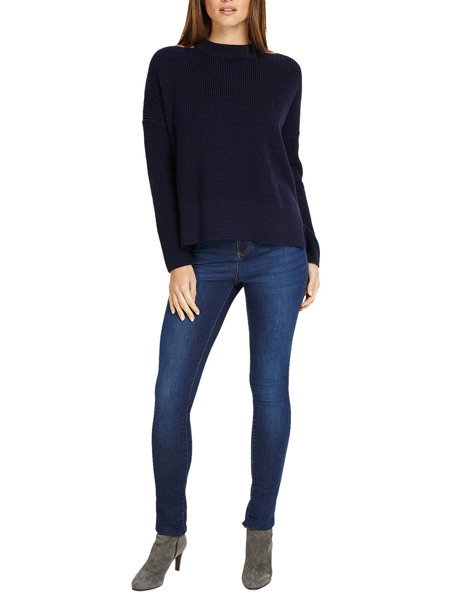 BuyPhase Eight Cammi Cut Neck Chunky Knit Jumper, Navy, M Online at johnlewis.com