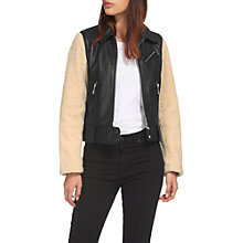 Buy Whistles Borg Sleeve Leather Biker Jacket, Black/Multi Online at johnlewis.com