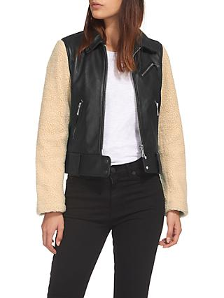 Whistles Borg Sleeve Leather Biker Jacket, Black/Multi