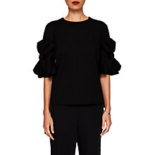 Buy Ted Baker Soaf Statement Bow Sleeve Top, Black Online at johnlewis.com