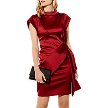 Buy Karen Millen Satin Drape Dress, Dark Red Online at johnlewis.com