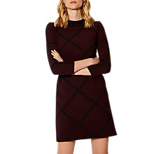 Buy Karen Millen Check Shift Dress, Aubergine Online at johnlewis.com