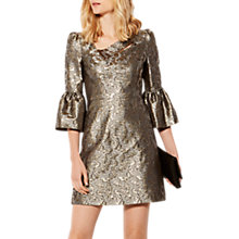 Buy Karen Millen Jacquard Bell Sleeve Dress, Gold Online at johnlewis.com