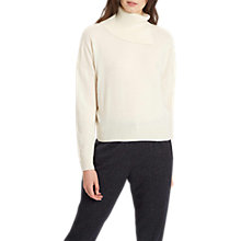 Buy Jaeger Cashmere Crop Split Cowl Neck Jumper, Ivory Online at johnlewis.com