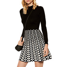 Buy Karen Millen Geometric Print A-Line Dress, Black/White Online at johnlewis.com