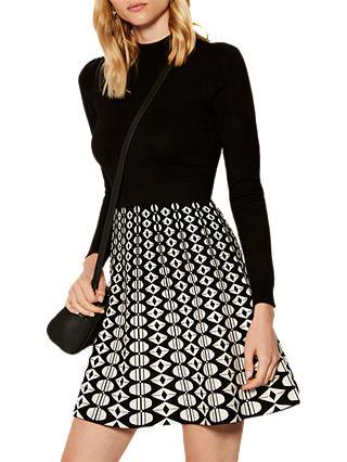 Karen Millen Geometric Print A-Line Dress, Black/White at John ...