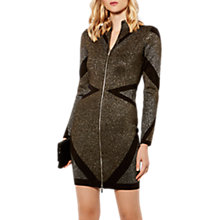 Buy Karen Millen Metallic Zip Through Dress, Gold Online at johnlewis.com