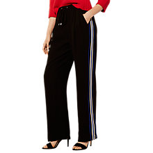 Buy Karen Millen Wide Leg Sporty Trousers, Black/Multi Online at johnlewis.com