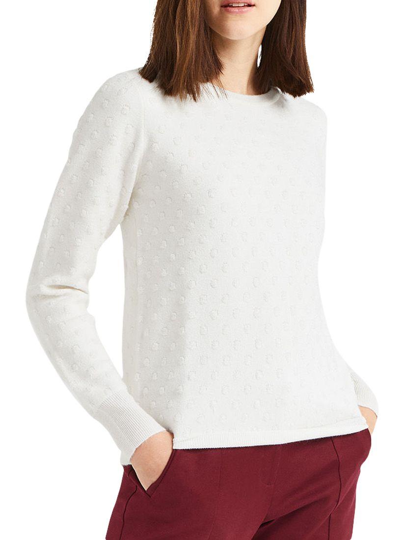 Oasis Textured Spot Jumper, Off White