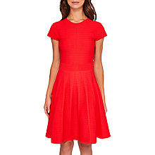 Buy Ted Baker Lynndia Ribbed Skater Dress, Red Online at johnlewis.com