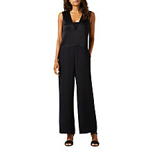Buy Jigsaw Satin Back Crepe Jumpsuit, Black Online at johnlewis.com