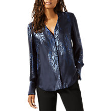 Buy Jigsaw Silk Snow Pattern Tux Blouse, Blue Eclipse Online at johnlewis.com