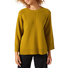 Buy Jigsaw Crew Neck Boxy Jumper, Citron Online at johnlewis.com
