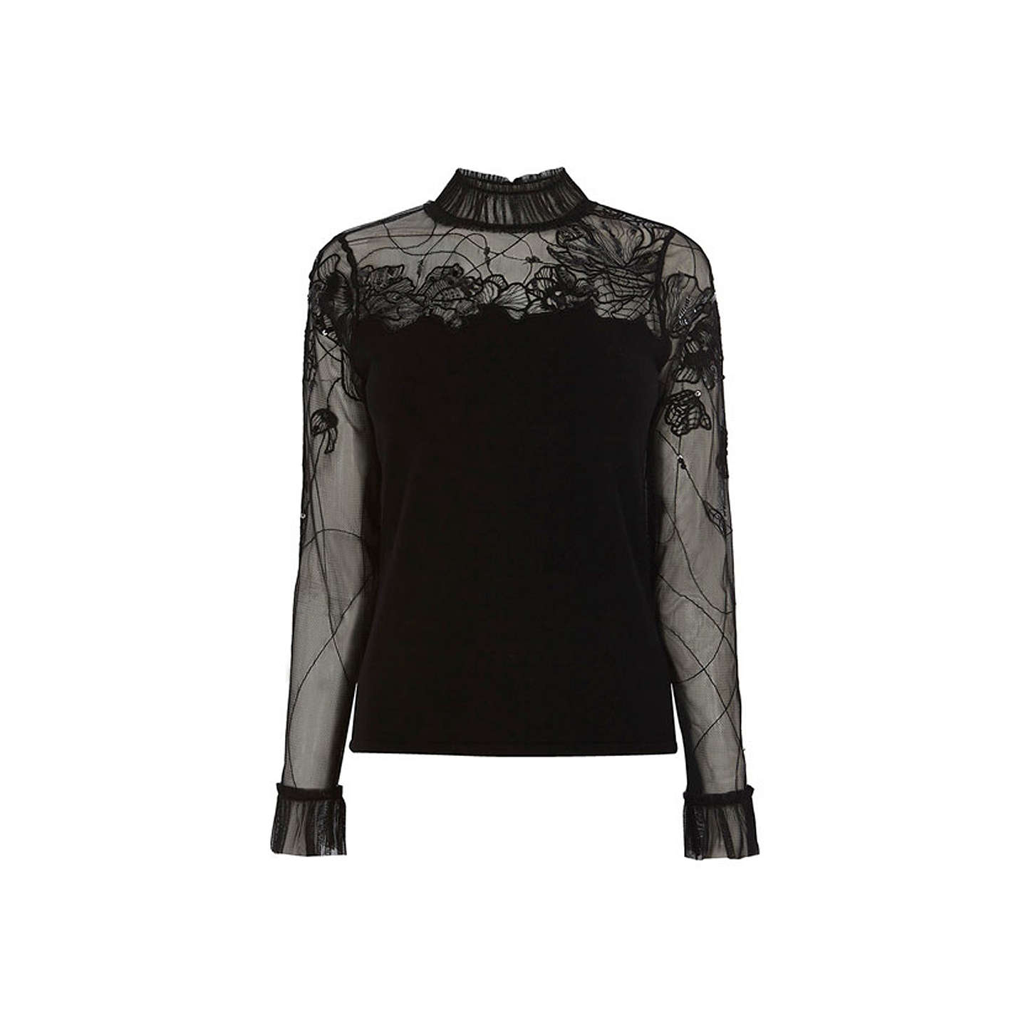 BuyCoast Ceri Tuille Beaded Knit Top, Black, 6 Online at johnlewis.com