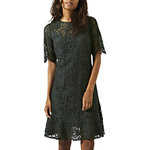 Buy Jigsaw Geometric Lace Ruffle Dress, Foliage Green Online at johnlewis.com
