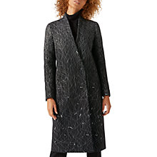 Buy Jigsaw Wind Spiral Collarless Coat, Charcoal Online at johnlewis.com
