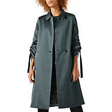 Buy Jigsaw Satin A-Line Coat, Midnight Green Online at johnlewis.com