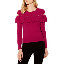 Buy Karen Millen Ruffle Sleeve Jumper, Pink Online at johnlewis.com