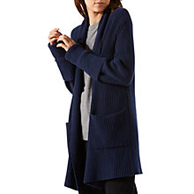 Buy Jigsaw Fishermans Ribbed Cardigan, Navy Online at johnlewis.com