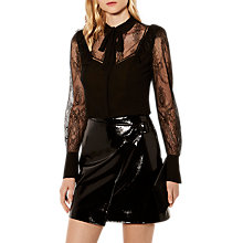 Buy Karen Millen Sheer Lace Blouse, Black Online at johnlewis.com