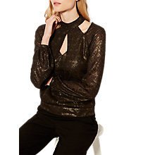 Buy Karen Millen Metallic Geometric Collar Blouse, Black/Multi Online at johnlewis.com