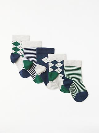 John Lewis & Partners Baby Cotton Rich Argile Print Socks, Pack of 5, Navy/Green