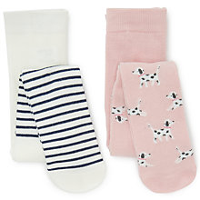 Buy John Lewis Baby Cotton Rich Dog And Stripe Tights, Pack of 2, Multi Online at johnlewis.com