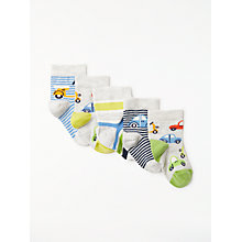 Buy John Lewis Baby Cotton Rich Car Socks, Pack of 5, Multi Online at johnlewis.com