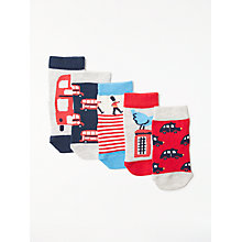 Buy John Lewis Baby Cotton Rich London Socks, Pack of 5, Red/Navy Online at johnlewis.com