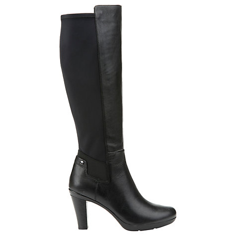 Buy Geox Inspiration Block Heeled Knee High Boots, Black Leather Online at johnlewis.com