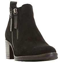 Buy Dune Pikton Block Heeled Ankle Boots, Black Suede Online at johnlewis.com