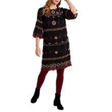 Buy White Stuff Karena Embroidered Dress, Black Online at johnlewis.com