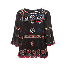 Buy White Stuff Winter Folk Embroidered Top, Black/Multi Online at johnlewis.com