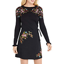 Buy Oasis Floral Embroidered Jumper, Black Online at johnlewis.com