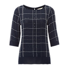 Buy White Stuff Fjord Sparkle Check Top, Blue Online at johnlewis.com