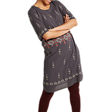 Buy White Stuff Mai Embroidered Dress, Metallic Grey Print Online at johnlewis.com