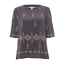 Buy White Stuff Mai Embroidered Jersey T-Shirt, Multi/Grey Online at johnlewis.com