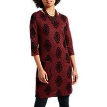Buy White Stuff Winter Paisley Flock Dress, Dark Scarlet Online at johnlewis.com