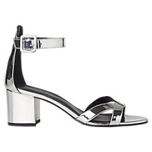 Buy Whistles Marquis Block Heeled Sandals, Silver Online at johnlewis.com