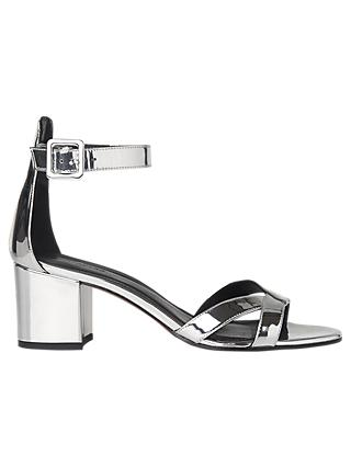 Whistles Marquis Block Heeled Sandals, Silver