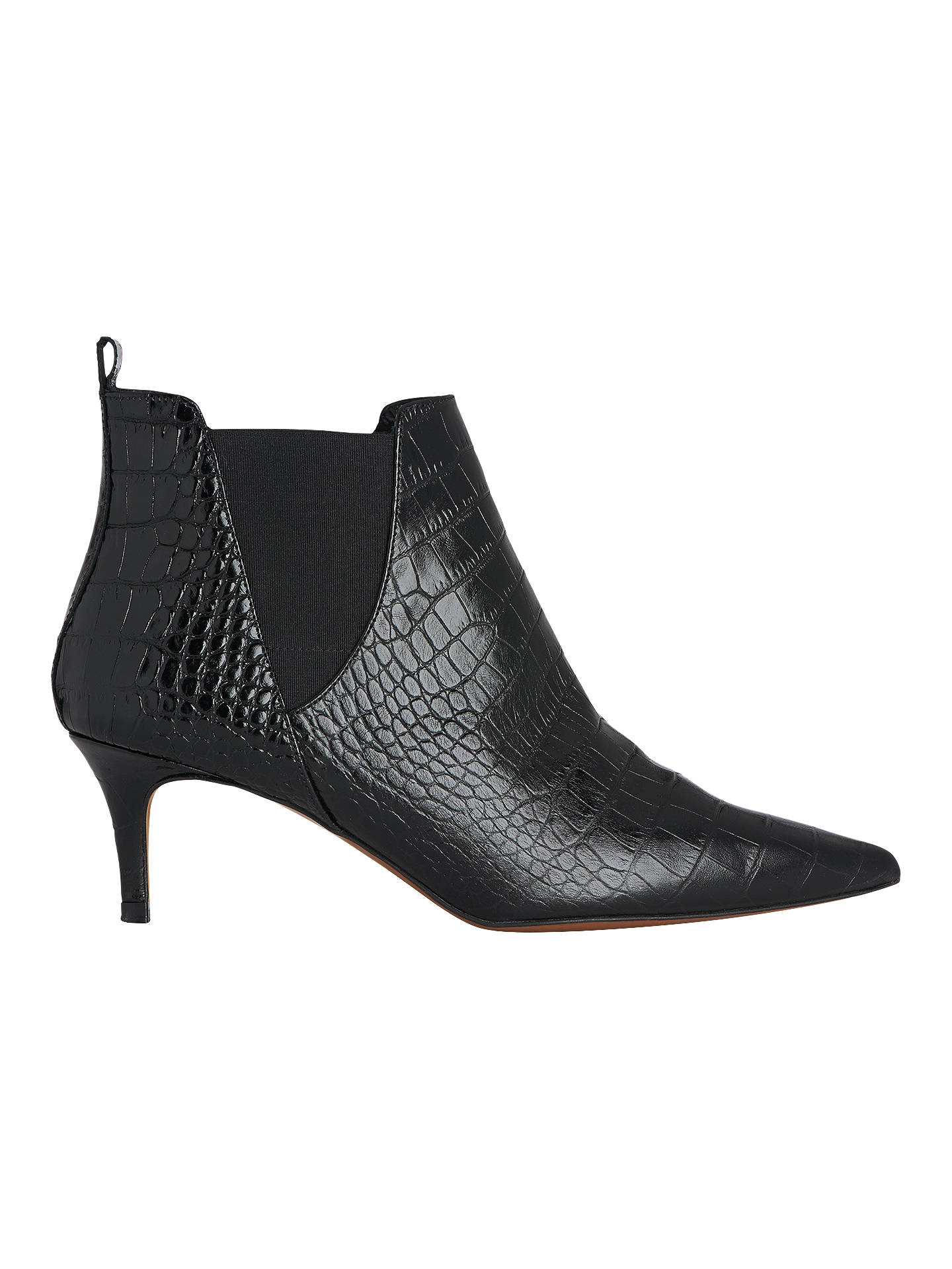 BuyWhistles Orley Pointed Toe Ankle Boots, Black Leather Croc, 3 Online at johnlewis.