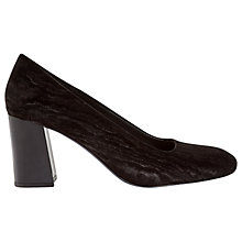 Buy Jigsaw Linus Block Heeled Court Shoes, Black Velvet Online at johnlewis.com