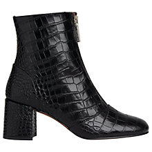 Buy Whistles Rowan Zip Front Ankle Boots, Black Leather Online at johnlewis.com