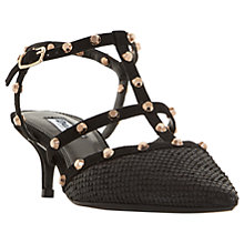 Buy Dune Casterly T-Bar Studded Court Shoes, Black Leather Online at johnlewis.com