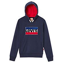 Buy Levi's Boys' Logo Hooded Sweatshirt, Dark Blue Online at johnlewis.com