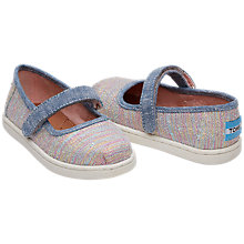 Buy TOMS Children's Mary Jane Riptape Shoes, Pink/Mutli Online at johnlewis.com