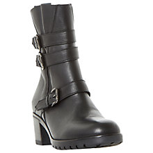 Buy Dune Pennfolde Biker Calf Boots, Black Leather Online at johnlewis.com