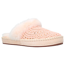 Buy UGG Aira Perforated Shearling Mule Slippers, Peach Suede Online at johnlewis.com