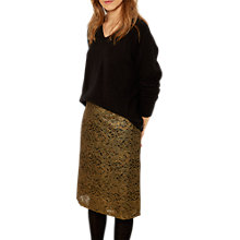 Buy White Stuff Metallic Tabitha Lace Pencil Skirt, Bronze Online at johnlewis.com